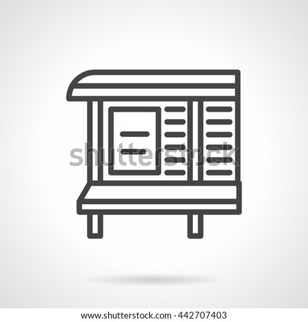 Outdoor advertising board with bench on bus stop. Announcement at transport stations and waiting areas. Simple line vector icon - stock vector