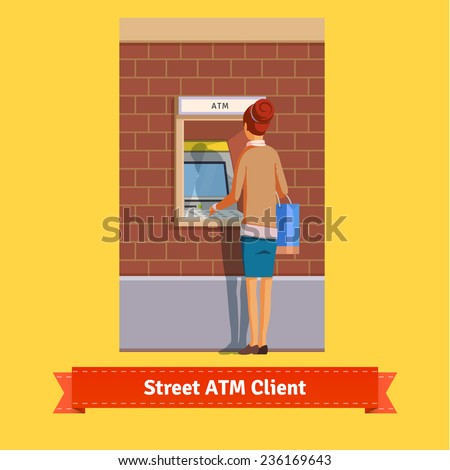 Outdoor ATM machine, deposit or withdrawal. Woman standing. Flat style illustration. EPS 10 vector. - stock vector