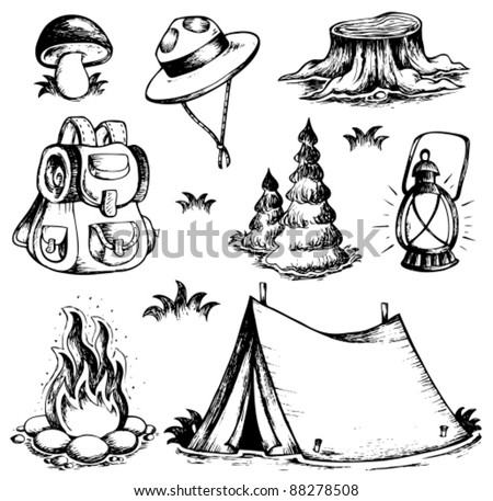 Outdoor theme drawings collection - vector illustration. - stock vector