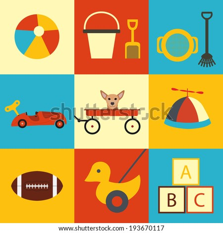 Outdoor toys icon collection / colorful background / vintage toys  - stock vector