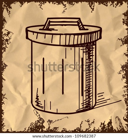 Outdoor trash bin icon isolated on vintage background. Hand drawing sketch vector illustration - stock vector