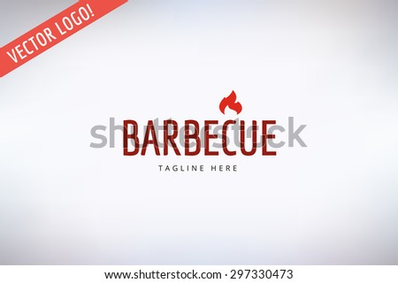 Outdoor travel logo. BBQ and Food Icon. Travel vector logo icon. Outdoor, Adventure, Grilled food, Kitchen, Meat, Kebab, Food logo, Restaurant outdoor logo. Fire flame silhouette. Food and drink - stock vector