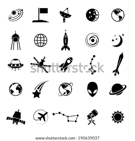 Outer space and air transport icons silhouettes. - stock vector