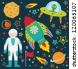 Outer Space Collection Set - stock vector