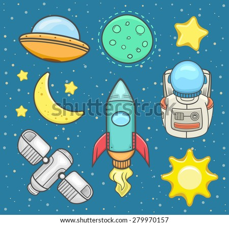 Outer space icon set . Vector illustration - stock vector