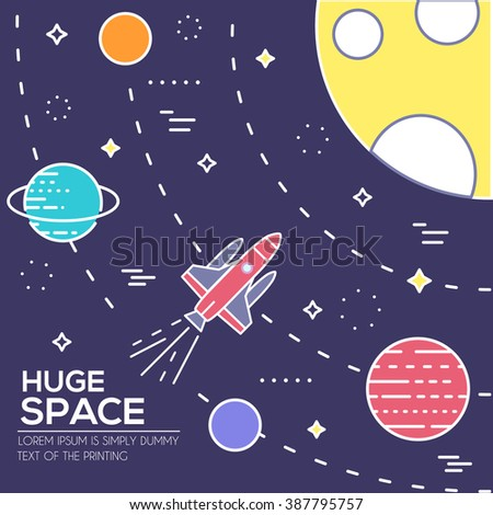 Outer space rocket flying flying to the moon background. Set of huge space infographic universe illustration. Vector thin lines icons stars in galaxy design concept.  - stock vector