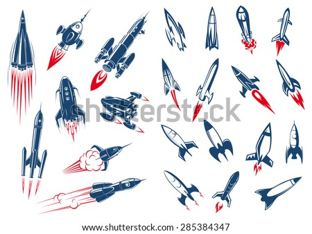 Outer space rocket ships and military missiles in cartoon style on white background - stock vector