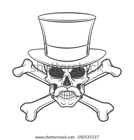 Outlaw skull with mustache, high hat and crossbones portrait. Crossbones head hunter logo template. Steampunk rover t-shirt insignia design. - stock vector