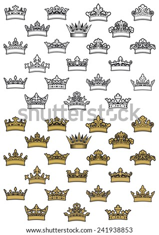 Outline and golden antique heraldic crowns with decorative elements and curlicue isolated on white background - stock vector