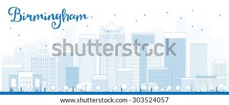 Outline Birmingham (Alabama) Skyline with Blue Buildings. Vector Illustration - stock vector