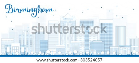 Outline Birmingham (Alabama) Skyline with Blue Buildings. Vector Illustration. Business and tourism concept with skyscrapers. Image for presentation, banner, placard or web site - stock vector