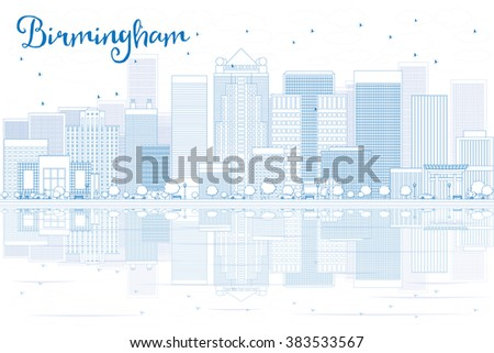 Outline Birmingham skyline with blue buildings and reflections. Vector illustration. Business travel and tourism concept with place for text. Image for presentation, banner, placard and web site. - stock vector