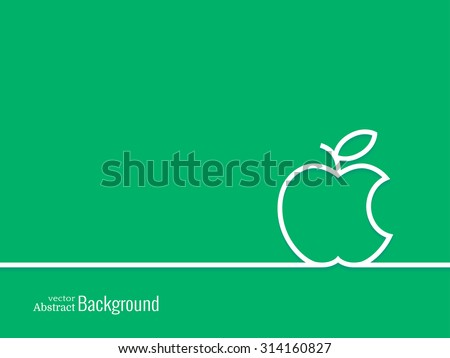 Outline bitten apple.  Minimal abstract background. Vector illustration. - stock vector