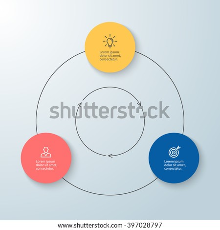 Outline circular infographic. Minimalistic design. Diagram, chart, graph with 3 steps, options, parts, processes with arrows. Vector design element. - stock vector