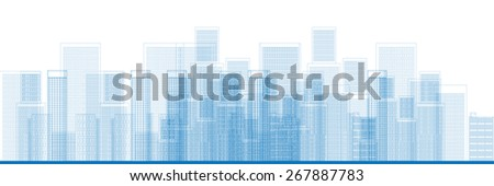 Outline City Skyscrapers in blue color Vector illustration - stock vector