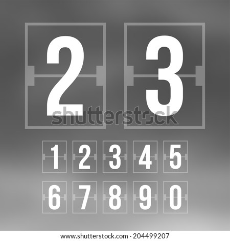 Outline countdown timer, white color flat mechanical scoreboard with different numbers - stock vector
