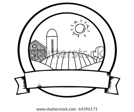 Outline Country Farm Banner - stock vector