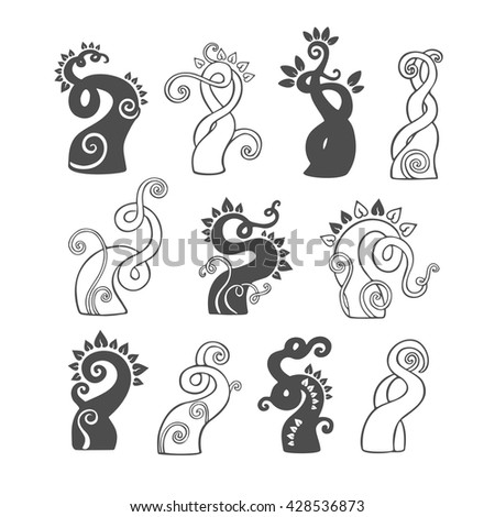 Outline doodle sprout and plant logo illustration icon set. Black silhouettes of magic bean sprouts with curls on a white background - stock vector