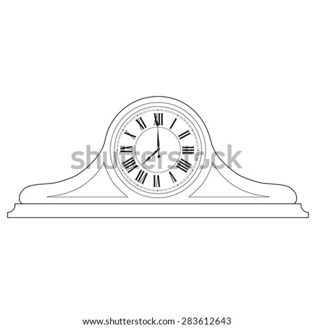 Outline drawing of old table clock with roman numerals vector illustration. Vintage desk clock. Table clock - stock vector