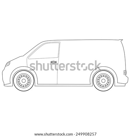 Outline drawings delivery car vector icon, delivery truck, delivery service - stock vector