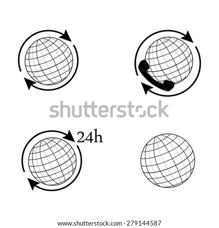 Outline drawings globe vector set. World globe with arrow around. Earth globe 24h. Globe icon international delivery - stock vector