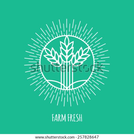 Outline farm fresh monogram or logo. Abstract organic, ecology and bio design element or badge. Vector illustration. - stock vector