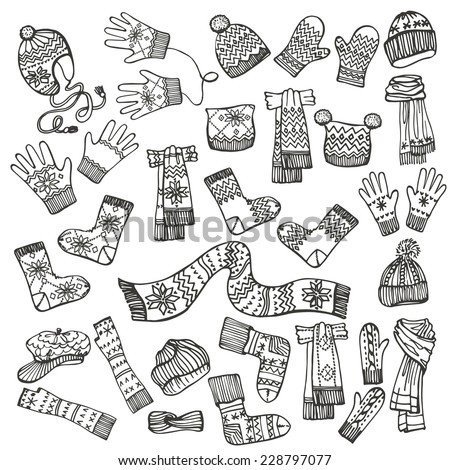 Outline Fashionable female knitted accessories set on Sketchy style.Autumn ,winter woman wear.Mittens,gloves,stockings,socks,hats, scarf with folk ornament.Fashion illustrations.Vector. - stock vector
