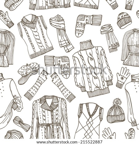 Outline Fashionable female knitted  clothing and accessories seamless pattern.Set on Sketchy style.W Autumn ,winter woman wear.Fashion background,backdrop,fabric,wallpaper.Vector. - stock vector