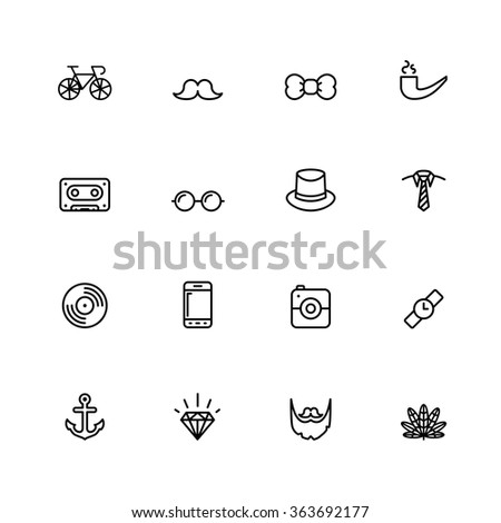 Outline Hipster Icons - stock vector
