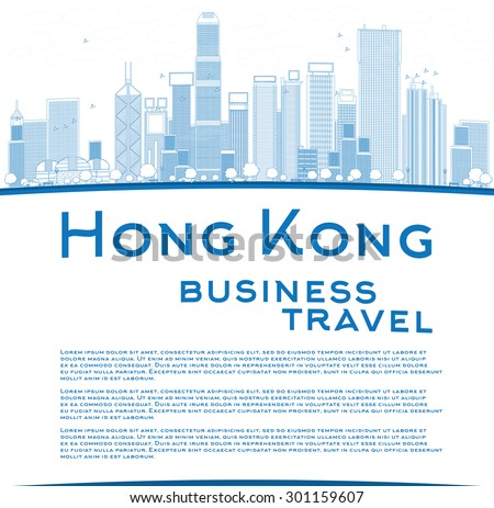 Outline Hong Kong skyline with blue buildings and copy space. Business travel and tourism concept with place for text. Image for presentation, banner, placard and web site. Vector illustration - stock vector
