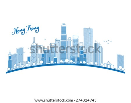 Outline Hong Kong skyline with blue skyscrapers and taxi. Vector illustration - stock vector