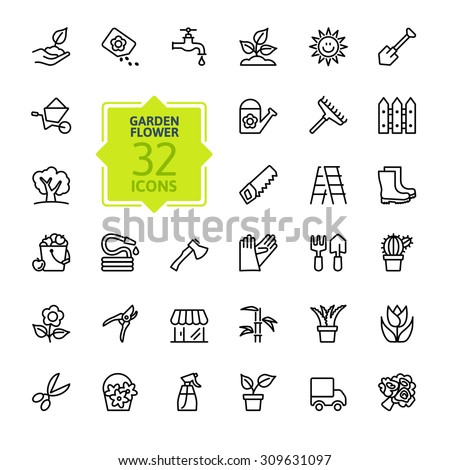 Outline icon collection - Flower and Gardening - stock vector