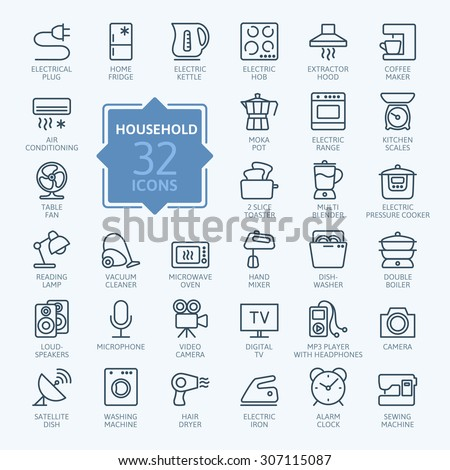 Outline icon collection - household appliances - stock vector