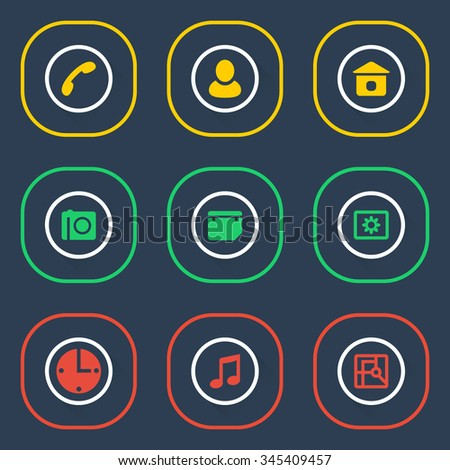 Outline icon set of web elements - stock vector
