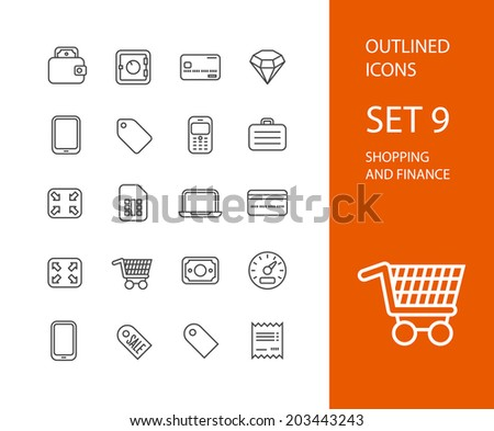Outline icons thin flat design, modern line stroke style, web and mobile design element, objects and vector illustration icons set 9 - shopping and finance collection - stock vector