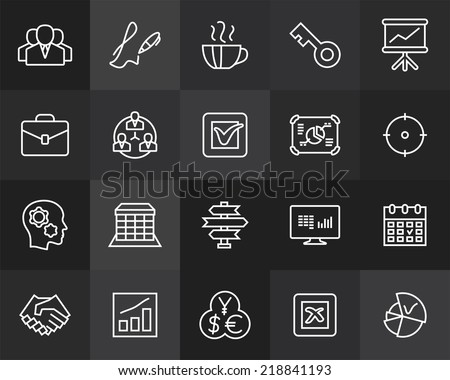 Outline icons thin flat design, modern line stroke style, web and mobile design element, objects and vector illustration icons set 25 - business and company collection - stock vector