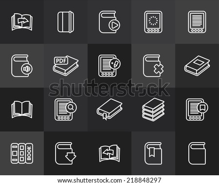 Outline icons thin flat design, modern line stroke style, web and mobile design element, objects and vector illustration icons set 21 - book collection - stock vector
