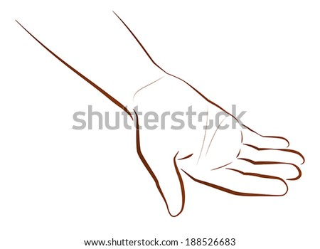 Outline illustration of a hand that is begging. - stock vector