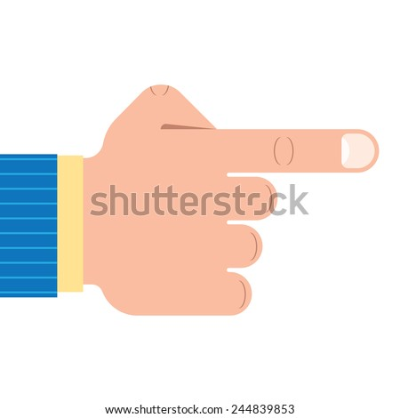 Outline illustration of a pointing hand gesture. - stock vector