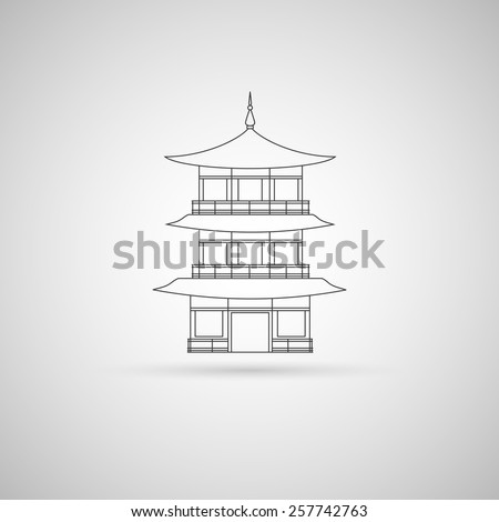 Outline illustration of Buddhist temple. Template for your art works. - stock vector