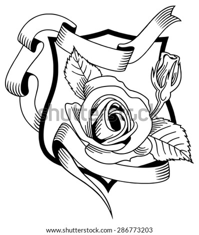 Outline image of a rose on the shield - stock vector