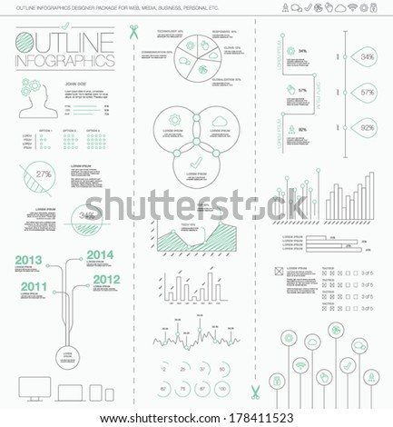 Outline infographics vector illustration. Artistic, creative and hand-drawn visualization. - stock vector