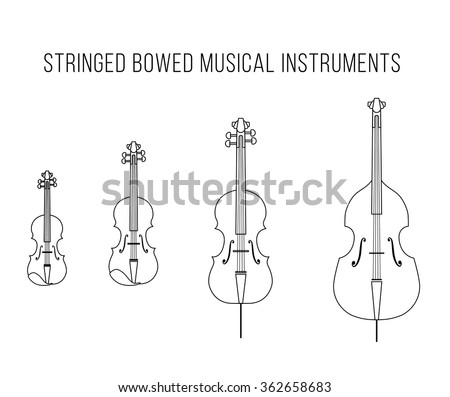 Outline isolated vector stringed bowed musical instruments: Bass, cello, viola, violin. Classical string. White  - stock vector
