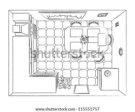 Outline kitchen interior top view - stock vector