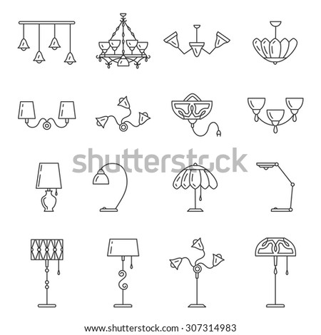 Outline lamp icon set, thin line style, flat design. Lamp vector illustration: wall lamp, desk lamp, floor lamp, chandelier, decorate lamp - stock vector