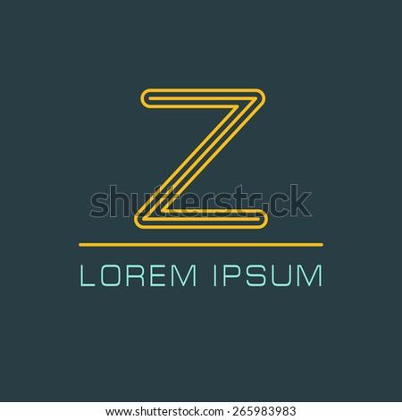Outline letter Z for logo design your company. Vector illustrations. - stock vector