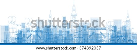 Outline London skyline with blue buildings and soldiers. Vector illustration. Business and tourism concept with skyscrapers. Image for presentation, banner, placard or web site - stock vector