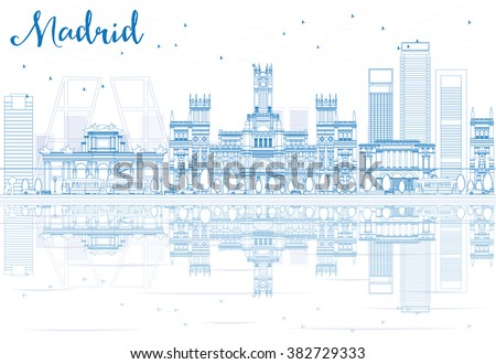 Outline Madrid Skyline with blue buildings reflections. Vector illustration. Business travel and tourism concept with historic buildings. Image for presentation, banner, placard and web site - stock vector