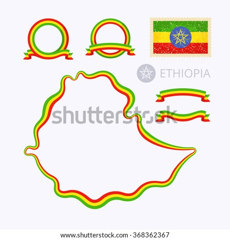 Outline map of Ethiopia. Border is marked with ribbon in national colors. The package contains frames in national colors and stamp with flag.  - stock vector