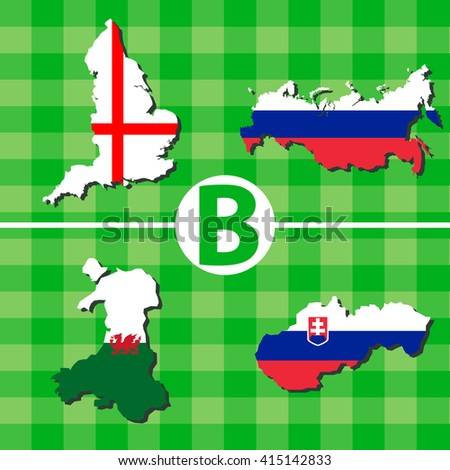 Outline maps of the participating countries football tournaments. B: England, Russia, Wales, Slovakia. - stock vector